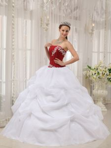 White and Wine Red Strapless Taffeta and Organza Appliques Quinceanera Dresses