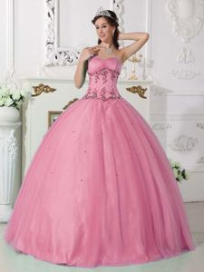Beaded Rose Pink Sweetheart Tulle and Taffeta Sweet 15 Dresses in Saint George