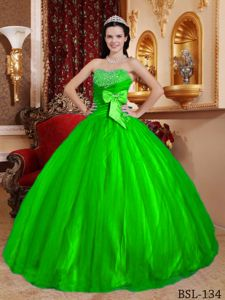 Spring Green Sweetheart Beading and Bowknot Sweet 15 Dress in Salt Lake City