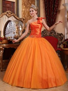 New Arrival Orange Single Shoulder Beading Quinceanera Gown in Salt Lake City