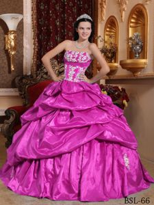 Exquisite Fuchsia Strapless Taffeta Appliques Quinceanera Dress in Orem UT