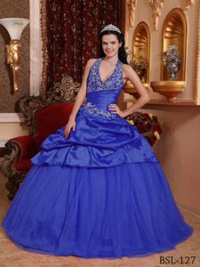 Ruched Dark Blue Halter Top Appliques Quinces Dresses Floor-length in Ogden