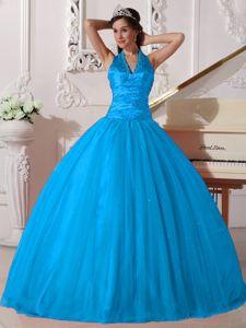 Baby Blue V-neck Tulle Beading Dress for Sweet 15 in Bainbridge Island WA