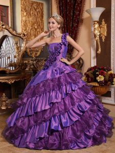 One Shoulder Taffeta and Organza Hand Flowery Quinceanera Dress