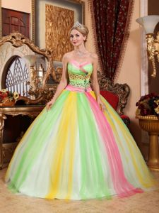 Multi-colored Sweetheart Tulle Quinceanera Dress with Beading in Florencia