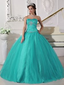 Strapless Tulle Beaded Ruched Quinceanera Dress in Turquoise in Valledupar