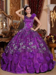 Purple V-neck Satin Quinceanera Dress with Beading and Appliques