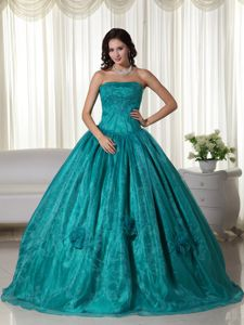 Strapless Floor-length Beaded Quinceanera Dress in Turquoise in Candelaria