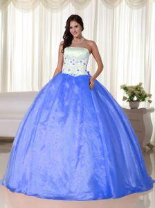 Strapless Floor-length Organza Quinceanera Dress in Aqua Blue in Tierralta