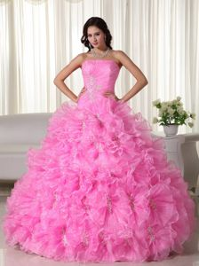 Rose Pink Strapless Organza Quinceanera Dress with Appliques in Malambo