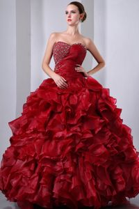 Sweetheart Organza Beaded Ruffled Quinceanea Dress in Wine Red