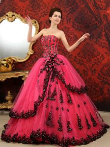 Coral Red Strapless Tulle Quinceanera Dress with Court Train in Soacha