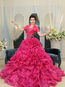 Sweetheart Ruffled Hot Pink Quince Dresses with Court Train in Soledad