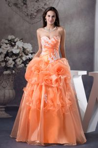 Hand Flowery Sweetheart A-line Sweet Sixteen Dress with Appliques