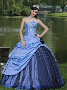 Light Blue Taffeta Custom Made Quinceanera Gown Dress in Pereira Colombia