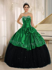 Beaded Embroidered Black and Green Quinceanera Dress in Envigado Colombia