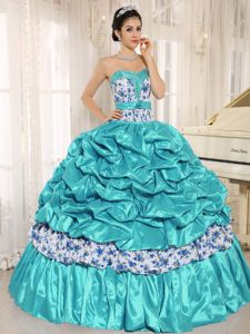 Beaded Quinceanera Dress with Pick-ups and Printing in Aqua Blue
