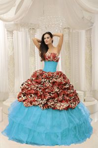 Organza Leopard Quinceanera Dress with Beading in Bucaramanga Colombia