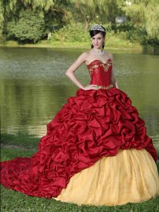 Wine Red Brush Train Red Quinceanera Dress with Pick-ups in Monteria Colombia