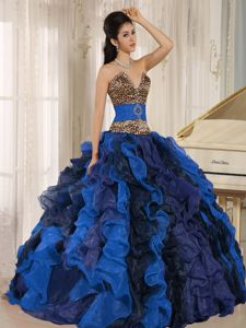 V-neck Ruffled Leopard Quince Dress in Multi-color with Beading in Soacha