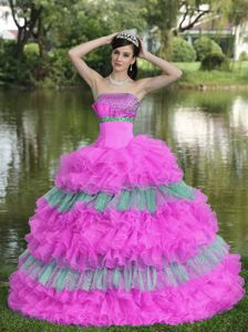 Beaded Sequined Multi-colored Strapless Quinceanera Dress in Barranquilla