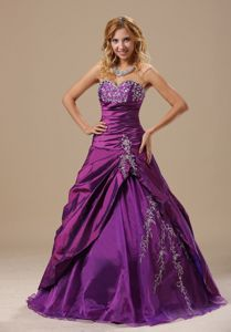 Appliqued Ruched Sweet Sixteen Quinceanera Dresses in Green Bay WI