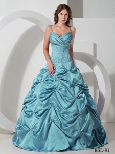 Floor-length Taffeta Beaded Quinceanera Dress with Pick-ups in Tocopilla