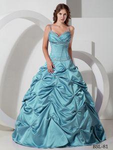 Floor-length Taffeta Beaded Quinceanera Dress with Pick-ups in Tocopilla