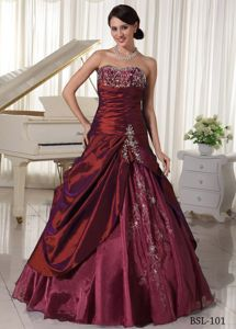 Taffeta and Organza Sweetheart Quinceanera Gowns with Appliques in Yakima