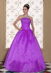 Strapless Beaded Quinceanera Dress in Taffeta and Organza in Tierra Amarilla