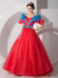 V-neck Floor-length Organza Sweet 15 Dresses with Hand Flowers in Kent