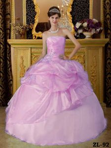 Pink Strapless Organza Ruched Quinceanera Dress with Beading in Spokane