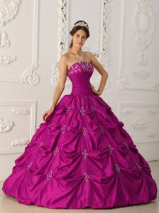Fuchsia Strapless Floor-length Taffeta Appliqued Quinceanera Dress with Beading