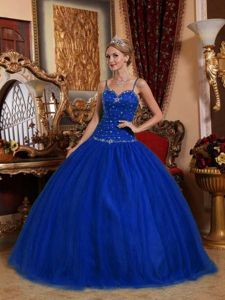 Royal Blue Spaghetti Strap Floor-length Quince Dress in Sucre Bolivia