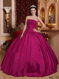 Fuchsia Ball Gown Strapless Beading Sweet 16 Dresses in Iquique Chile