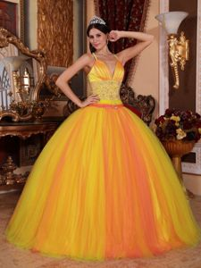 Gold V-neck Floor-length Quinceanera Dresses in Santa Cruz Bolivia
