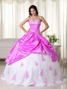 Hot Pink and White Appliqued Sweetheart Full-length Sweet Sixteen Dress