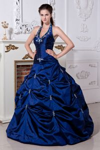 Navy Blue Halter Long Quinceanera Dresses with Pick-ups and Embroidery