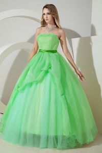 Lovely Spring Green Strapless Full-length Sweet Sixteen Dresses in Nashua
