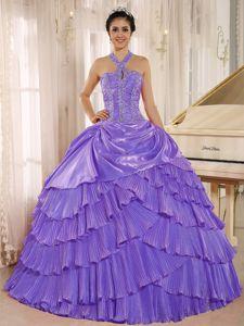 Purple Beaded Halter Pleated Full-length Dress For Quinceanera in Trenton