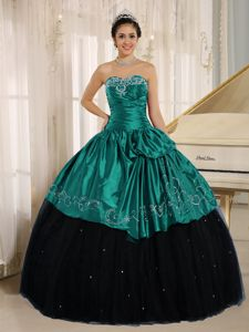 Sweetheart Black and Turquoise Long Quinceaneras Dress with Embroidery