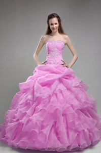 Strapless Rose Pink Long Quinceaneras Dress with Ruffles and Embroidery