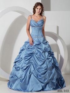 Light Blue Beaded Long Quince Dress with Pick-ups and Spaghetti Straps