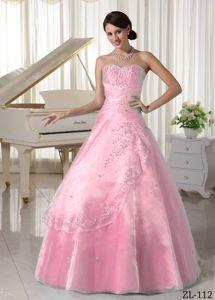 Baby Pink Beading Over Skirt Sweetheart Full-length Sweet Sixteen Dress