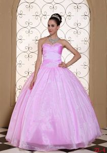 Cute Baby Pink Beaded Sweetheart Long Dress For Quinceanera in Easton