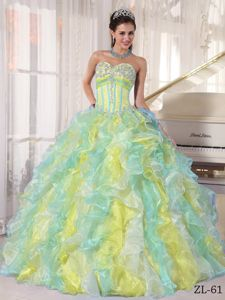 Cute Multi-color Appliqued Sweetheart Long Quinceanera Dresses with Ruffles