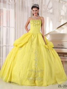 Yellow Floor-length Quinceanera Gowns with Spaghetti Straps and Appliques