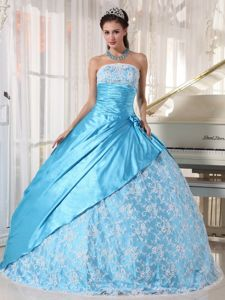 Strapless Baby Blue Floor-length Quinceanera Dresses with Lace in Branson