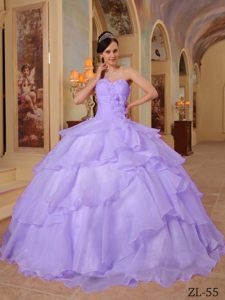 Lavender Lace-up Long Quinces Dresses with Flower and Layers in Duluth