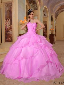 Sweetheart Rose Pink Full-length Quinceanera Dresses with Flower and Layers